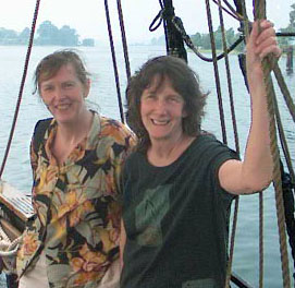 Lucia Robson And Ginny Stibolt on The Dove in St. Mary's City, MD.