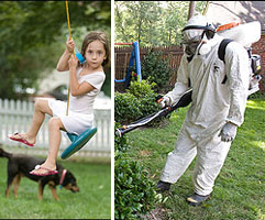 The heavily clad bugsprayer and the child who plays in that yard. Photos by Mark Finkenstaedt for the Washington Post