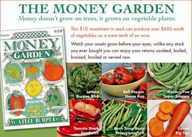 "$10 worth of seeds can grow $650 worth of vegetables. Burpee's""Money Garden"" graphic."