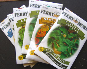 Seeds for Ginny's edible gardens.  Photo by Stibolt
