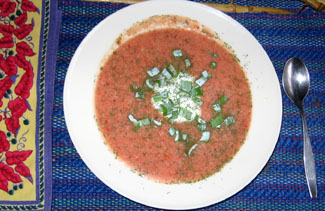 Cream of tomato soup topped with a dollup of yogurt & onion greens from the garden.  Photo by Stibolt.